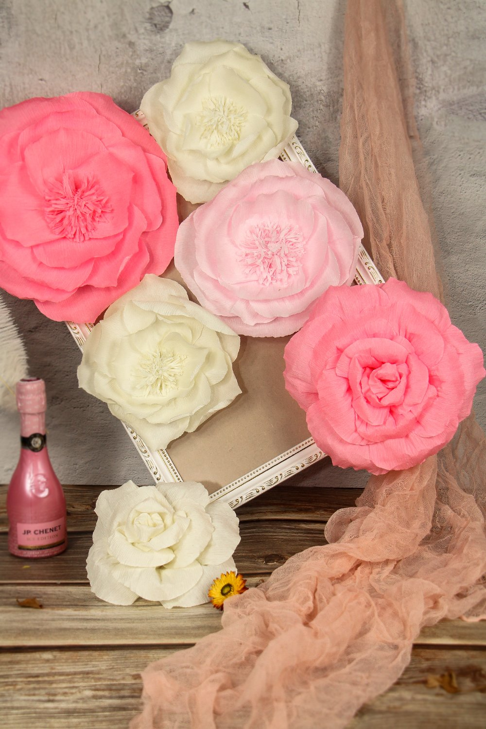 Large Pink Ivory And Watermelon Pink Crepe Paper Flowers Set Of 6