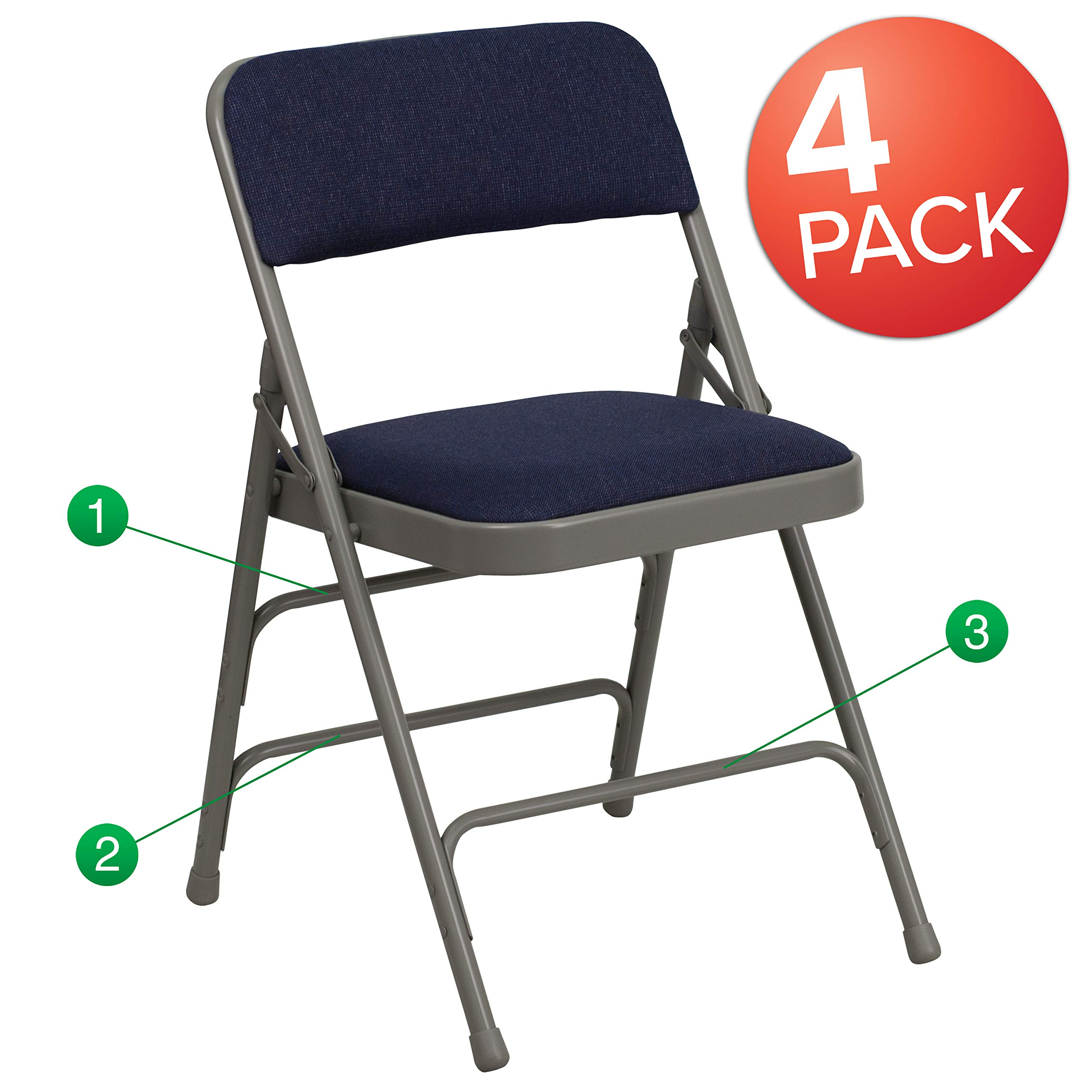 Flash Furniture 4 Pk. HERCULES Series Curved Triple Braced & Double Hinged Navy Fabric Metal Folding Chair - by Flash Furniture