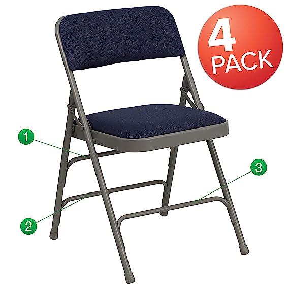 Amazon.com: Pack de 4 sillas de tela beige, marco de metal ...