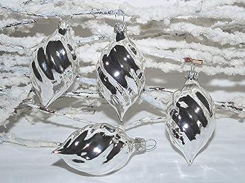 Jingle Bells Lauscha Christbaumschmuck Silber Gedrehte Form 4stuck
