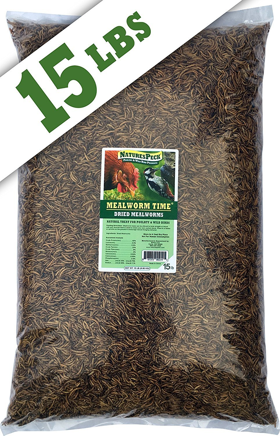 NaturesPeck Mealworm Time Dried Mealworms (15 lbs) Non-GMO