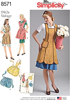product image for Simplicity US8571A 1940's Vintage Fashion Apron Sewing Patterns, Sizes S-L