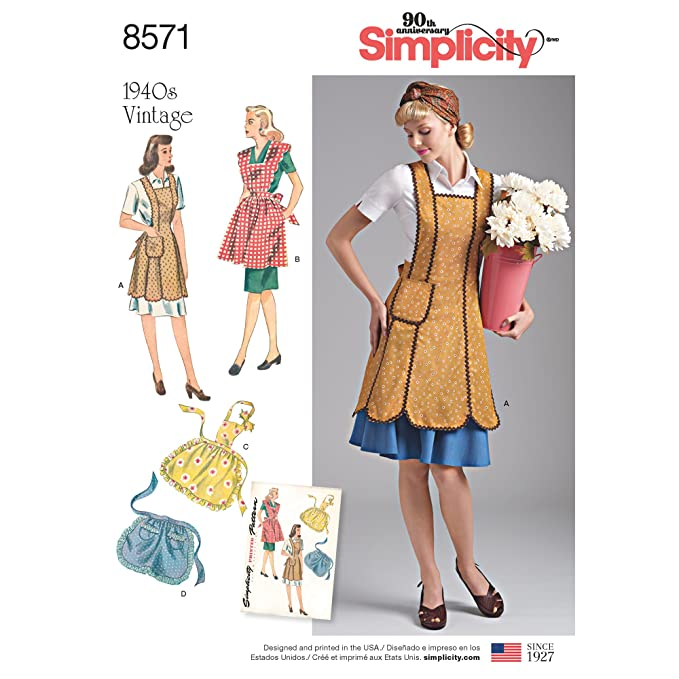 Vintage Aprons, Retro Aprons, Old Fashioned Aprons & Patterns Simplicity Vintage Crafts A (A (S-M-L) $10.49 AT vintagedancer.com