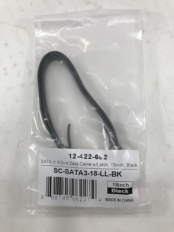 "18/"" SATA III 6Gb//s Data Cable w//Latch Black Coboc SC-SATA3-18-LL-BK"