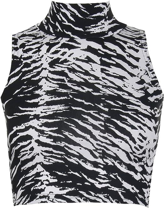 para Mujer diseño de Estampado de Cebra Polo sin Mangas con Cuello ...