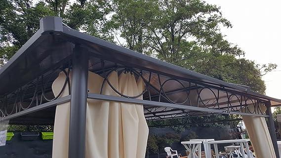 Cenador de 3 x 3, 60 con techo de policarbonato: Amazon.es: Jardín