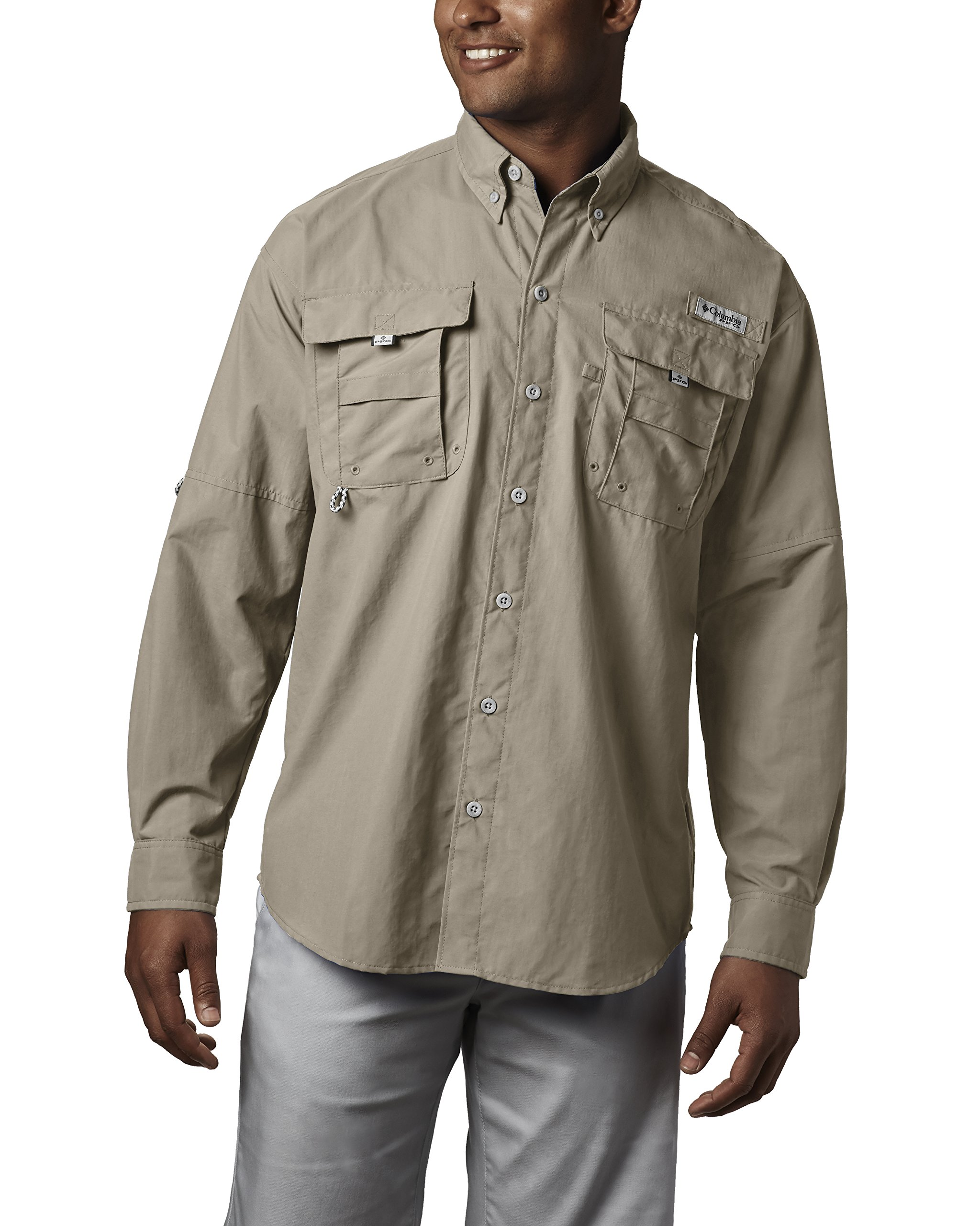 Columbia Men's Bahama II Long Sleeve Shirt, Fossil, Large