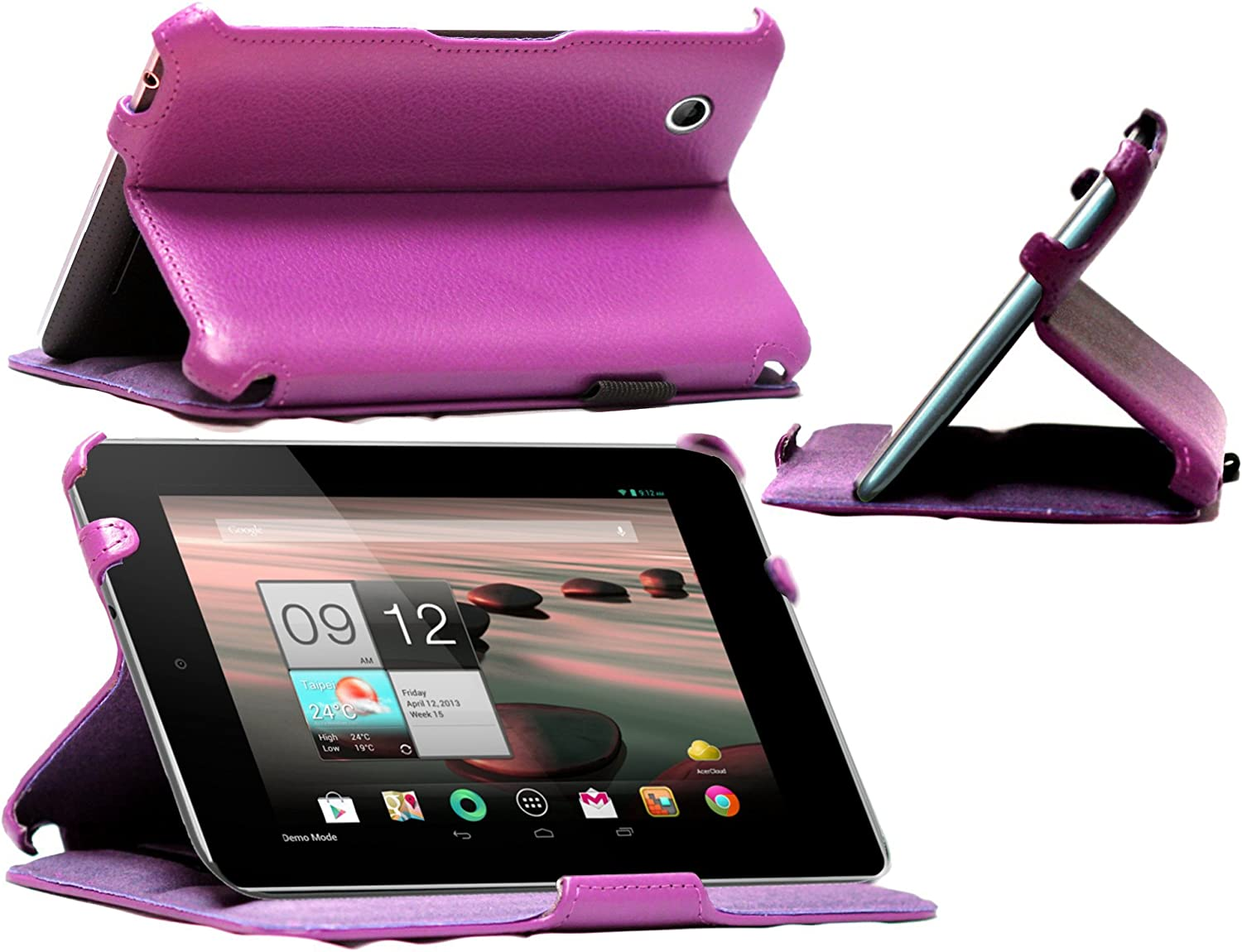 MiTAB Faux Leather Case Cover with Stand Compatible with The Acer Iconia A1 810 7.9 Inch (Multi Stand case, Purple)