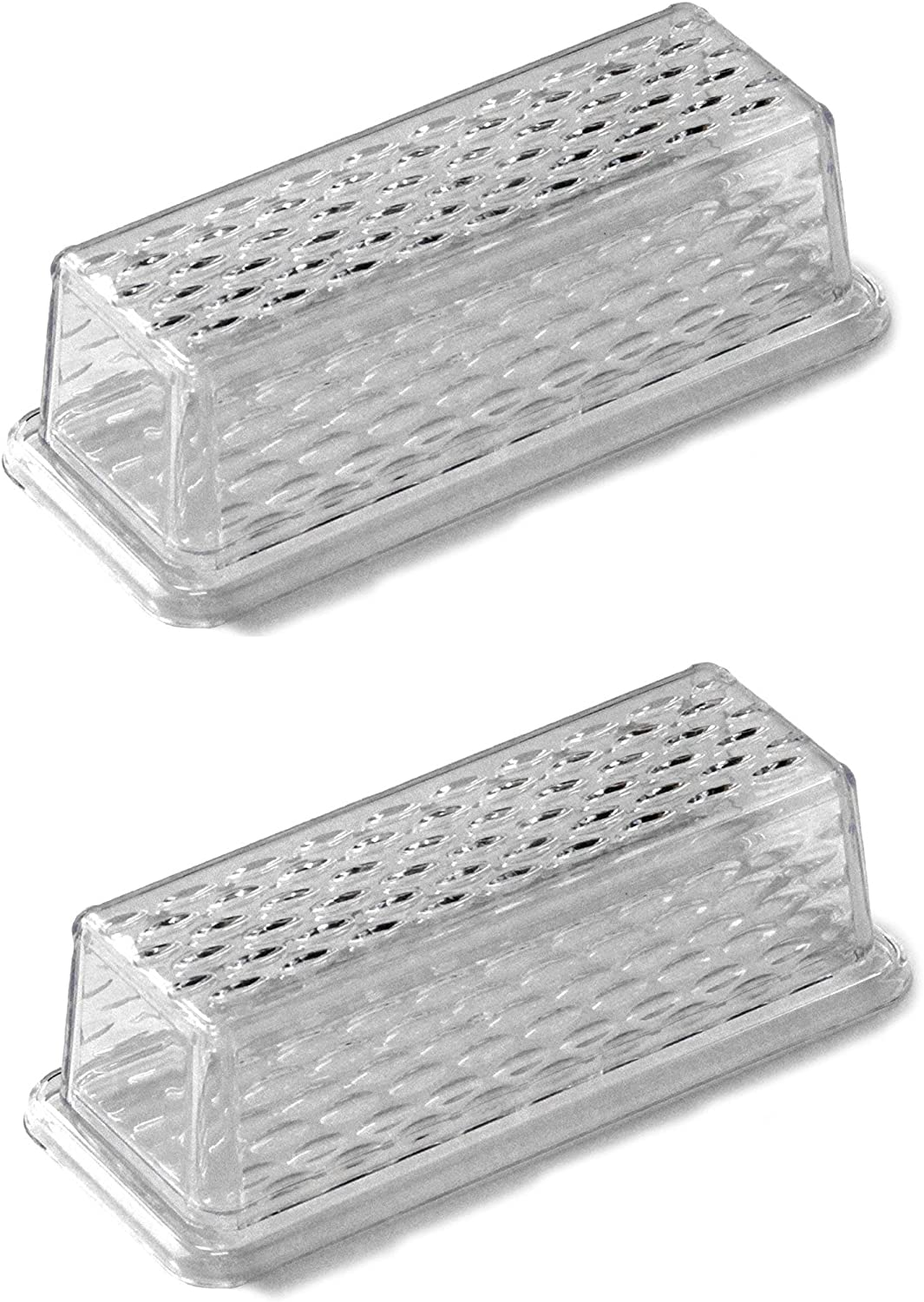 """Chef Craft 21458-2PK Clear Plastic Butter Dish with Crystalline Design Cover 