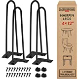 12 Inch Hairpin Legs – 4 Easy to Install Metal Legs for Furniture – Mid-Century Modern Legs for Coffee and End Tables, Chairs