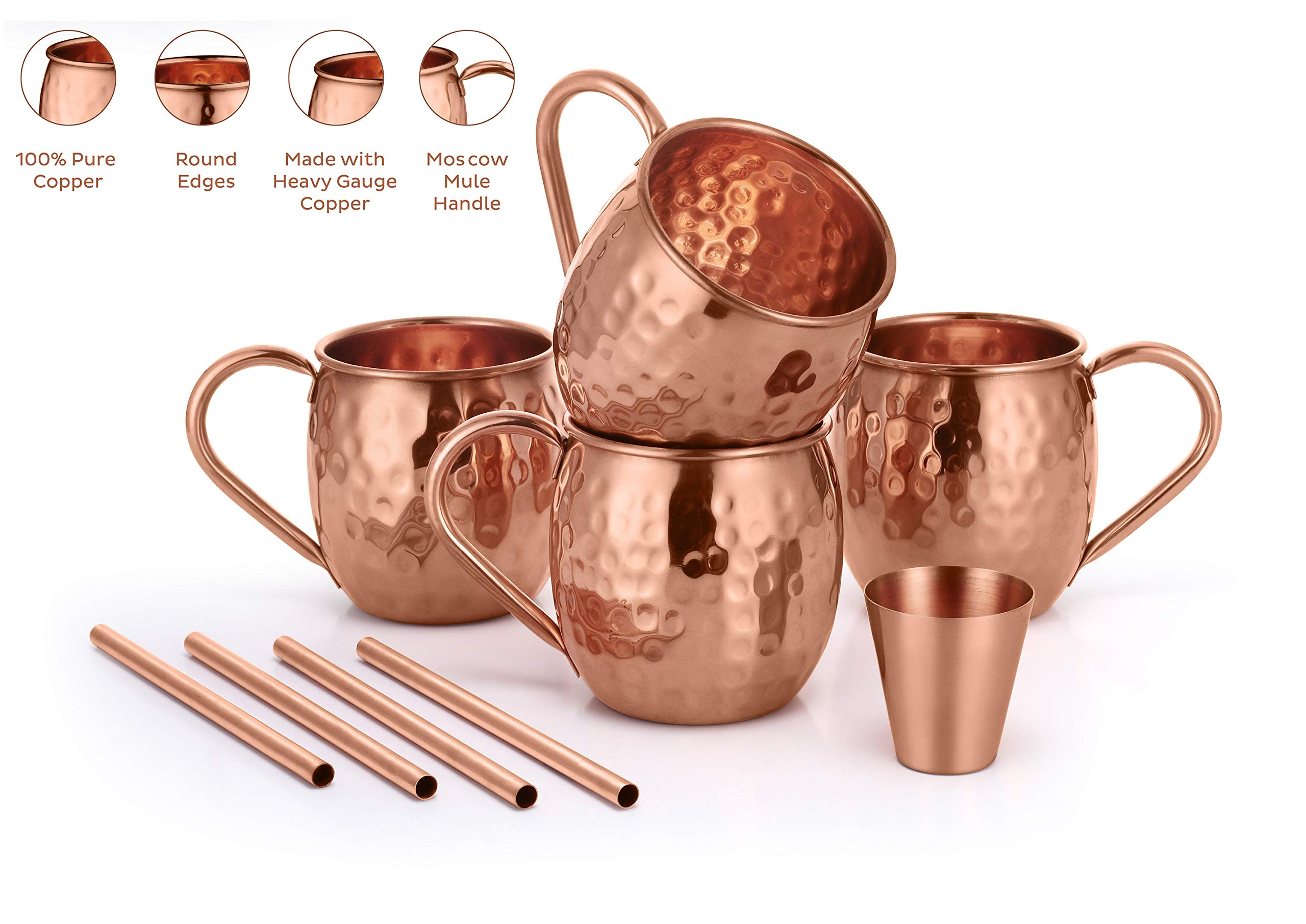 AVADOR Set of 4 Handcrafted 100% Pure Copper Moscow Mule Mugs Hammered Finish 16 Oz. Gift Set Boxed with Shot Glass and Copper Straws by Avador