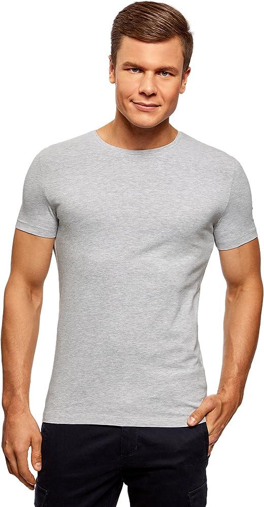 oodji Ultra Hombre Camiseta Básica (Pack de 5), Gris, ES 44 / XS: Amazon.es: Ropa y accesorios