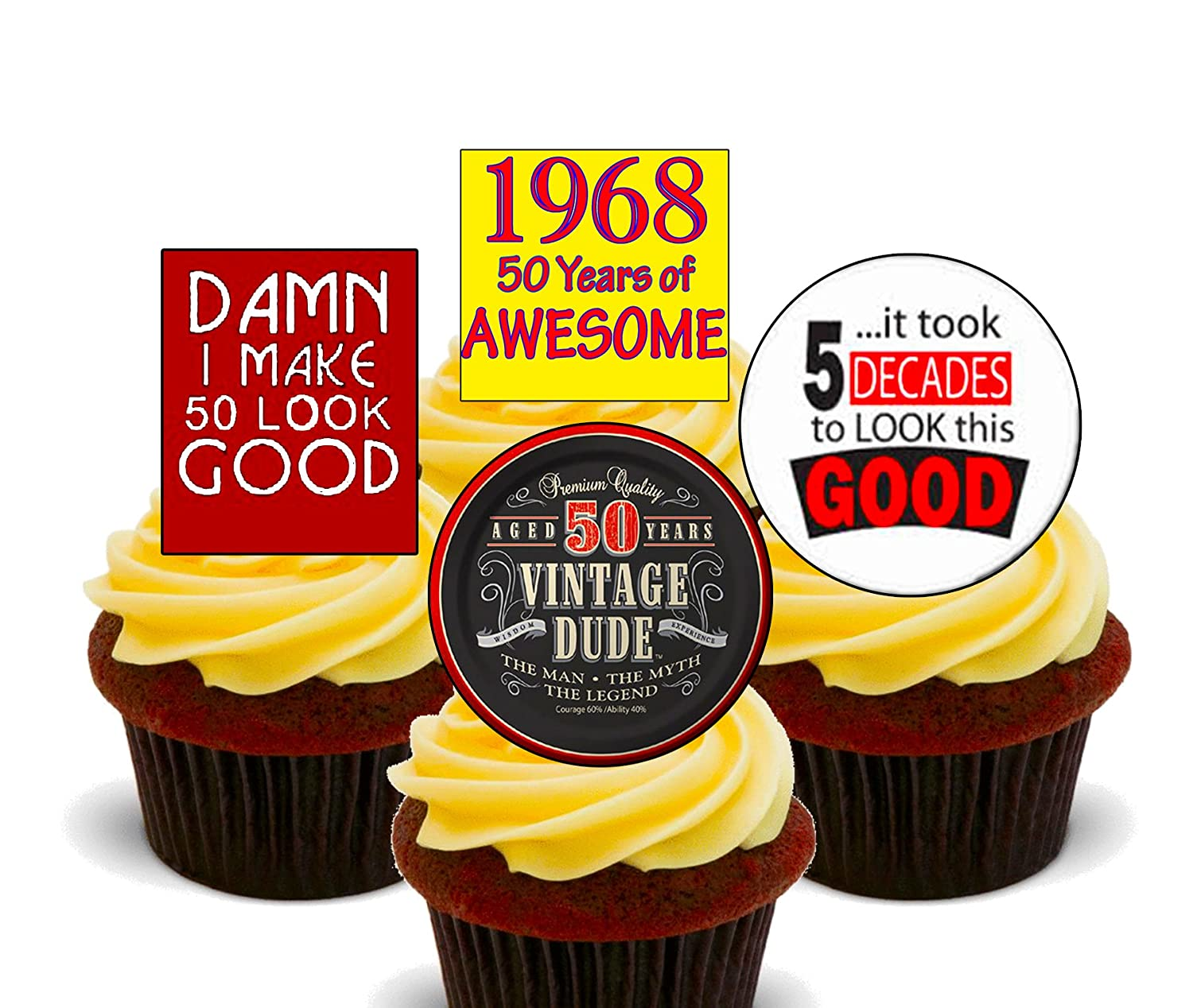 50th Birthday Male, 1968 Vintage, Edible Cupcake Toppers - Stand-up ...