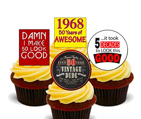 50th Birthday Male 1968 Vintage Edible Cupcake Toppers