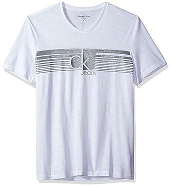 e6c256d38 Calvin Klein Jeans Men's Lined Ck Jeans V Neck Tee Shirt, White, X-Large |  Amazon.com