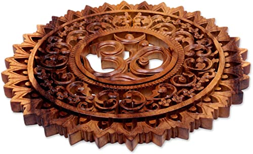 NOVICA Handcrafted Buddhism Flower and Om Brown Wood Mandala Relief Panel Wall Art