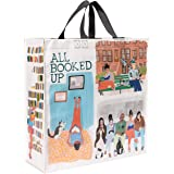 """Blue Q Shopper, All Booked Up. Reusable Grocery Bag, Sturdy, Easy-to-Clean, 15""""h x 16""""w x 6""""d, Made From 95% Recycled Materia"""