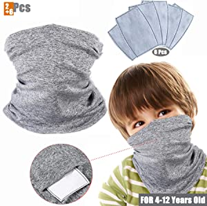 2 Pack Kids Face Cover with 6Pcs Filters, Multifunctional Neck Gaiter Scarf Non-Slip Balaclava Headwear Headbands Bandana for Sun UV, Cycling, Outdoors