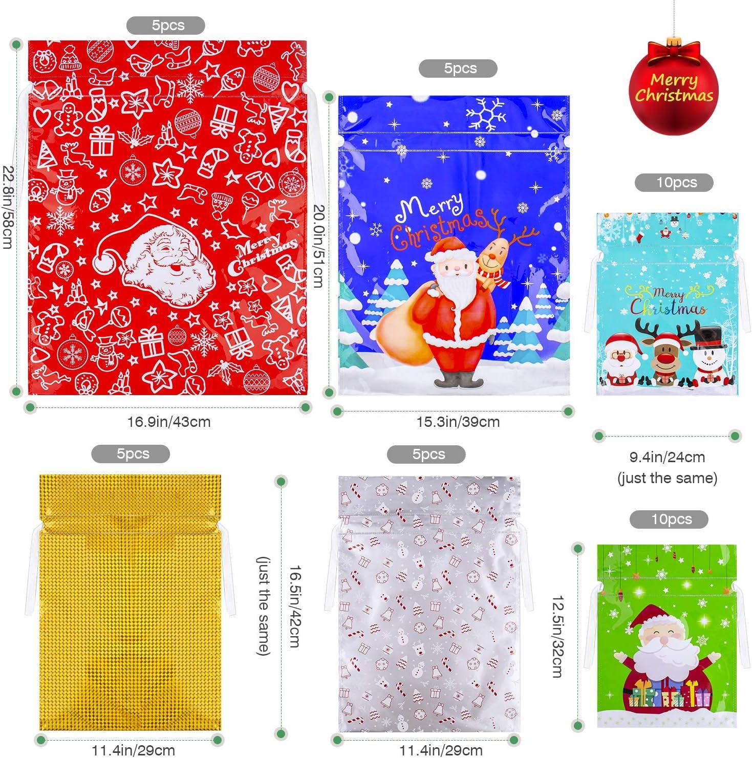 Cadeaux D/écorations de Vacances SPLAKS Sacs Cadeaux No/ël Lot de 40 Grands Sacs Emballage Cadeaux avec des Liens de Ruban pour la F/ête de No/ël