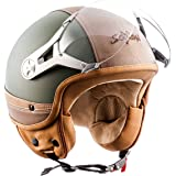 SOXON SP-325-URBAN Green · Vespa Helmet Moto Cruiser Retro Scooter Pilot Demi-Jet Chopper Biker Mofa Vintage Casque Jet Bobber · ECE certifiés · conception en cuir · visière inclus · y compris le sac de casque · Vert · M (57-58cm)