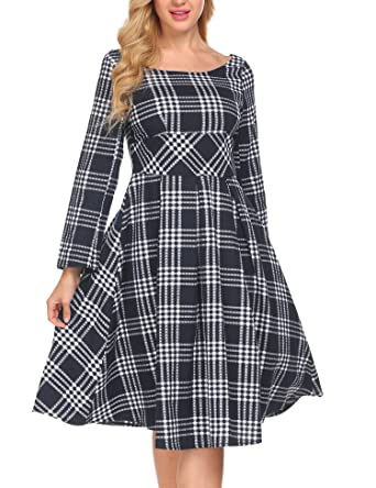 e2a8420eec0 ACEVOG Women s Plaid Print Dress Long Sleeve A-Line Flare Casual Dress