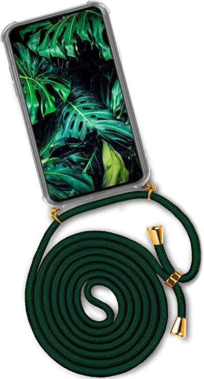 OneFlow Case with Necklace to fit iPhone X//iPhone Xs Dark Green Lanyard Silicone Cover