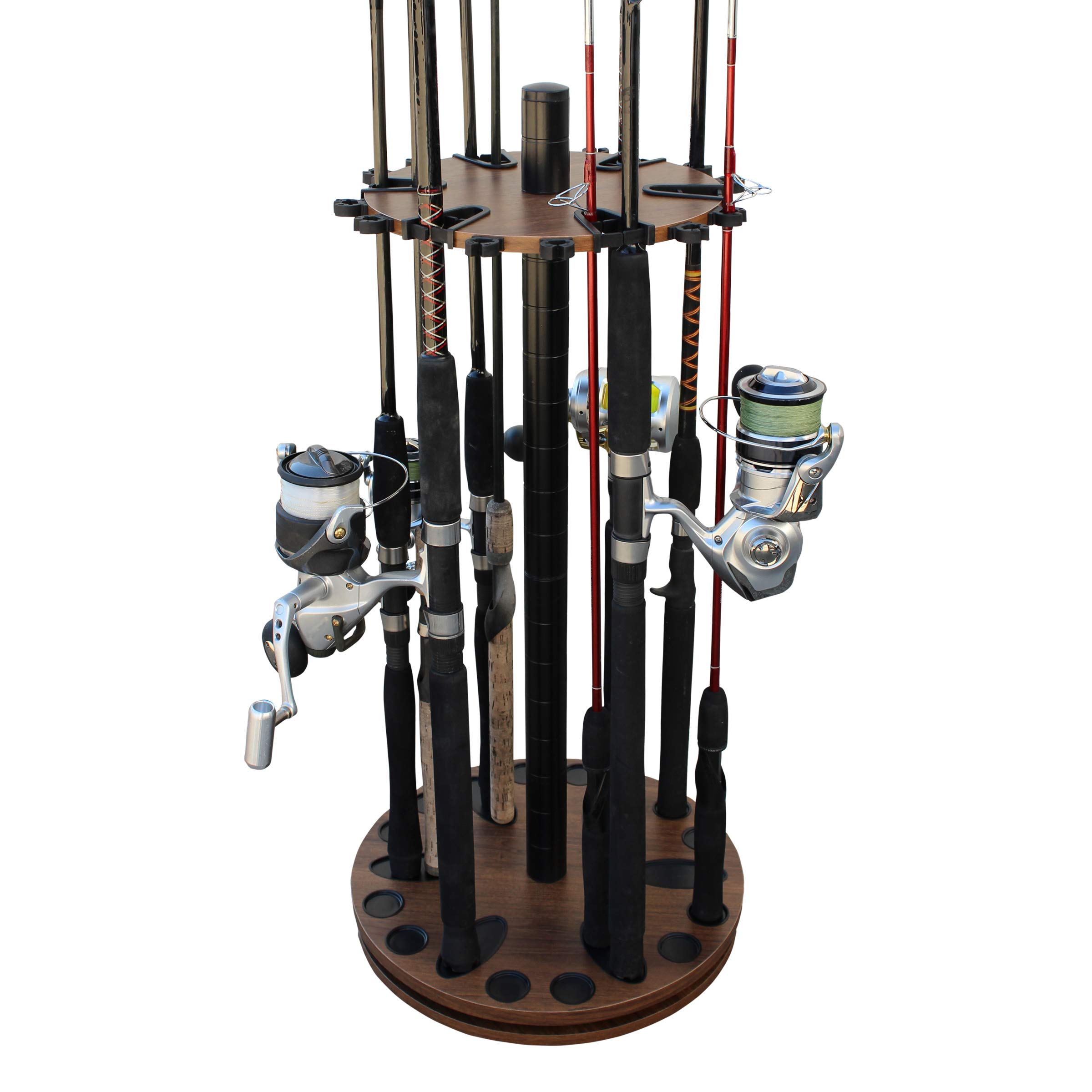 Rush Creek Creations 24 Round Spinning Fishing Rod/Pole Storage Floor Rack Dark Walnut Finish - Features Heavy Duty Steel Post - No Tool Assembly