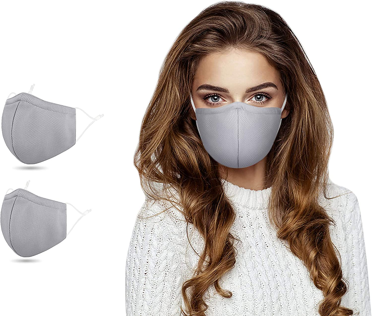 Face_Macks, Reusable Mouth_Madks, Adjustable Earloop Dust Cover,2Pcs_Grey