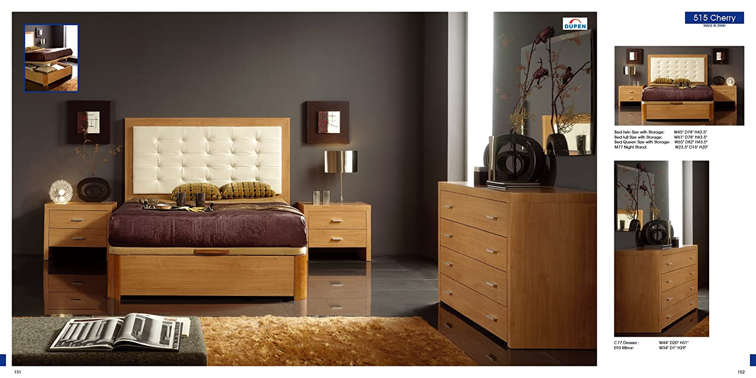 Amazon.com: ESF Alicante 515 Contemporary Cherry Finish Bedroom Set with Storage - Twin Size: Kitchen & Dining