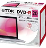 TDK データ用DVD-R 4.7GB 1-16倍速対応 ホワイトワイドプリンタブル 20枚パック 5mmスリムケース DR47PWC20UE