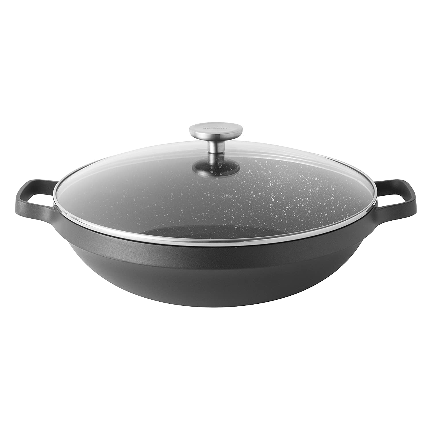 BergHOFF Gem Non-Stick Ceramic Coated Induction-Safe Two Handle Wok with Glass Lid, 32cm, Cast Aluminium, Black, 40 x 33 x 16.5 cm 2307316