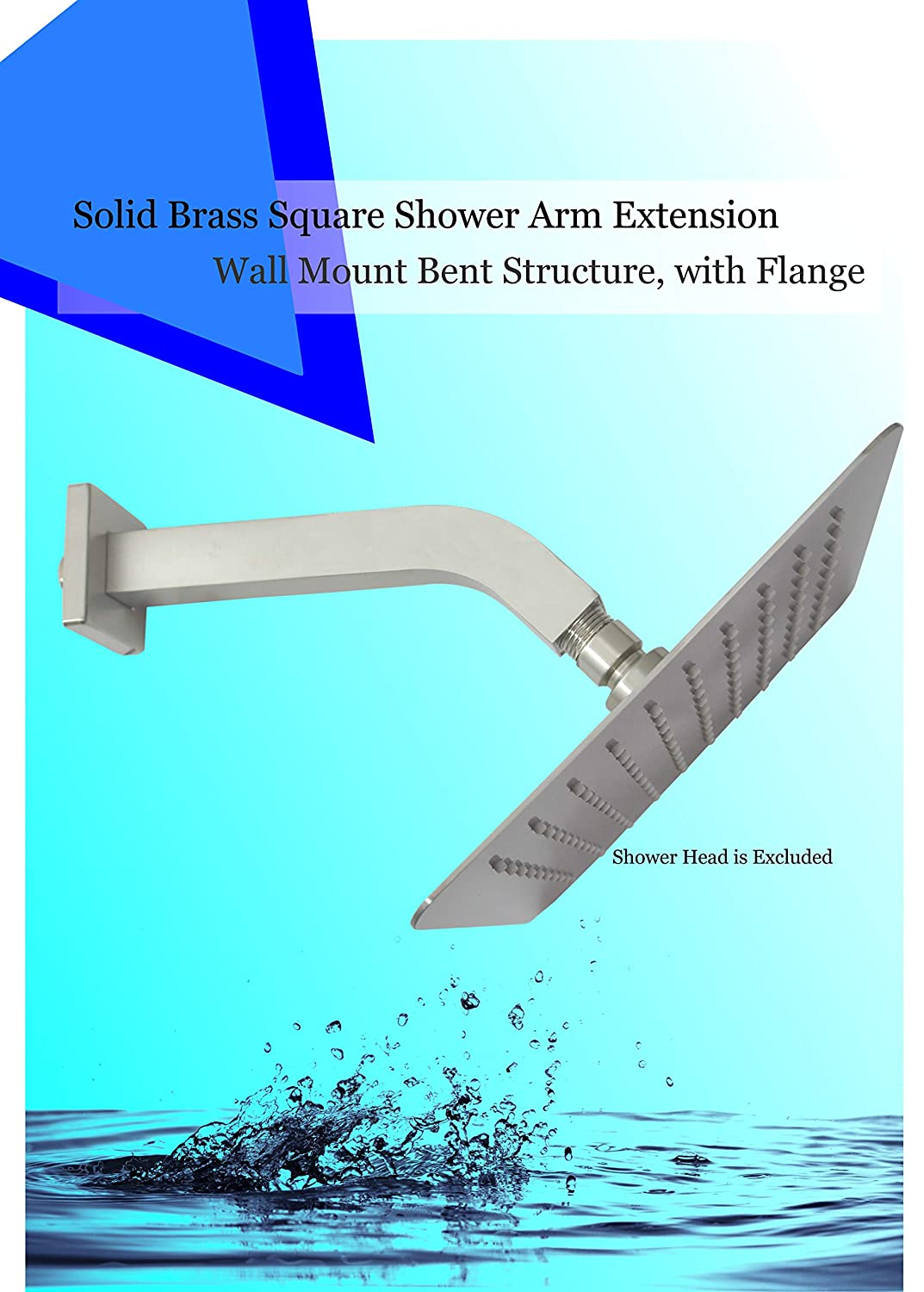 12 Inch Solid Brass 8 inch Compatible with Shower Head Max American Exclusive Quality Square 1//2-14 NPT Shower Extension Arm with Flange Aquaiaw Shower Arm Wall Mount Polished Chrome Bent