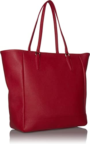 Royce Leather 24 Hour Executive Tote Bag in Saffiano Leather, Red, One Size