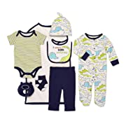 Mini B. by Baby Starters 9-Piece I Wasn't Born Yesterday Layette Gift Set Blue/Green/Black 3-6 Months for Sleep & Play with Bodysuit, Pants, More