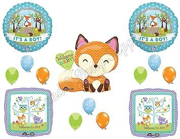 Itu0027s A Boy Woodland Friends Baby Shower Balloons Decoration Supplies Fox  Chevron By Anagram