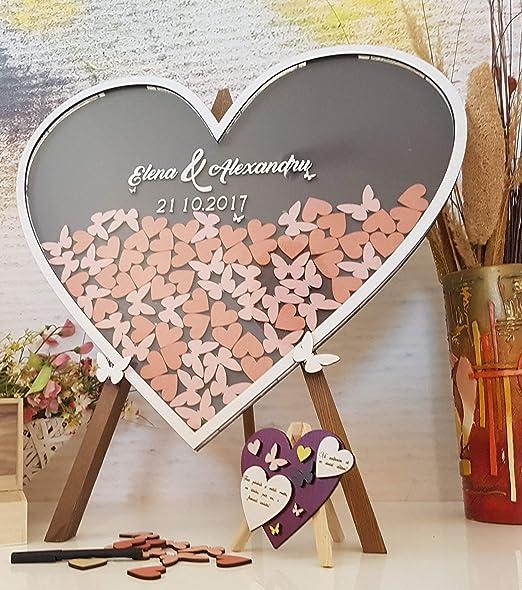aqf528140 - Caja de Madera con Forma de corazón para Boda, Libro ...