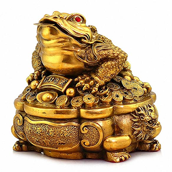Large Size Brass Thriving Business Feng Shui Money Frog Three Legged Wealth Frog or Money Toad with Treasure Basin Statue, Attract Wealth and Good Luck,Feng Shui Decor