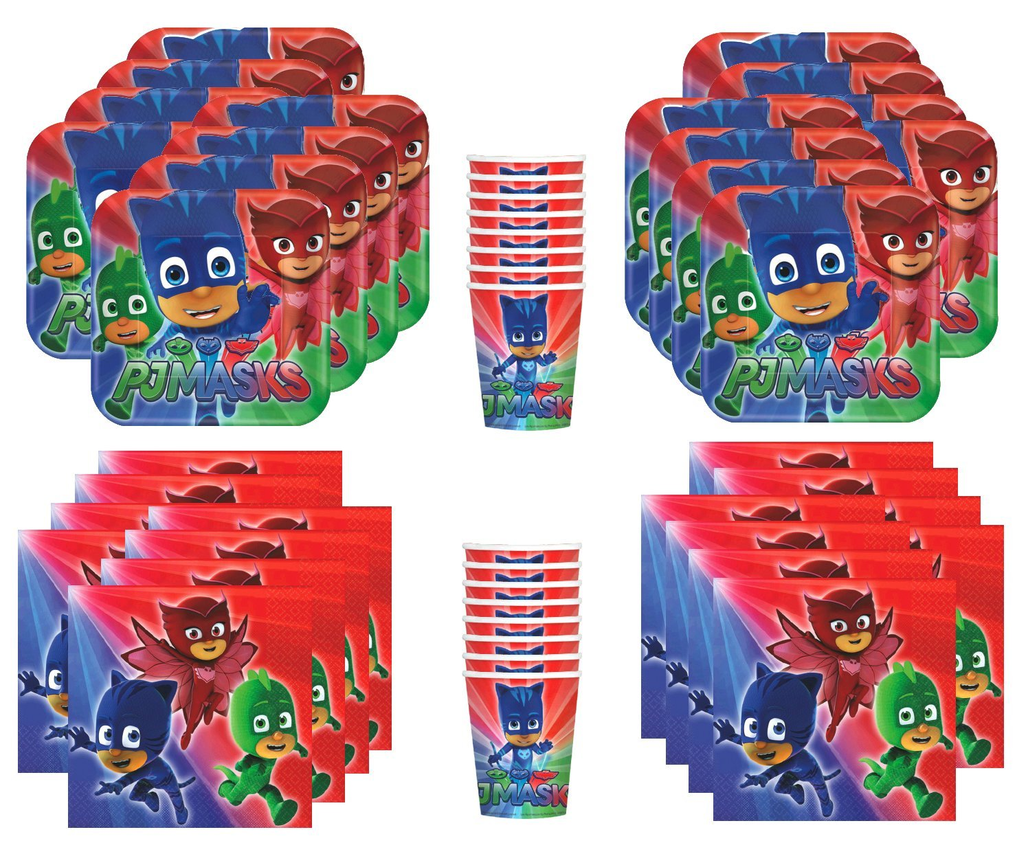 Amscan PJ Masks Birthday Party Supplies Bundle Pack for 16 Guests