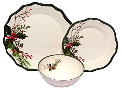 Melange 12-Piece 100% Melamine Dinnerware Set (Winter Bouquet Collection ) | Shatter  sc 1 st  Amazon.com & Amazon.com: Melange 12-Piece 100% Melamine Dinnerware Set (Winter ...
