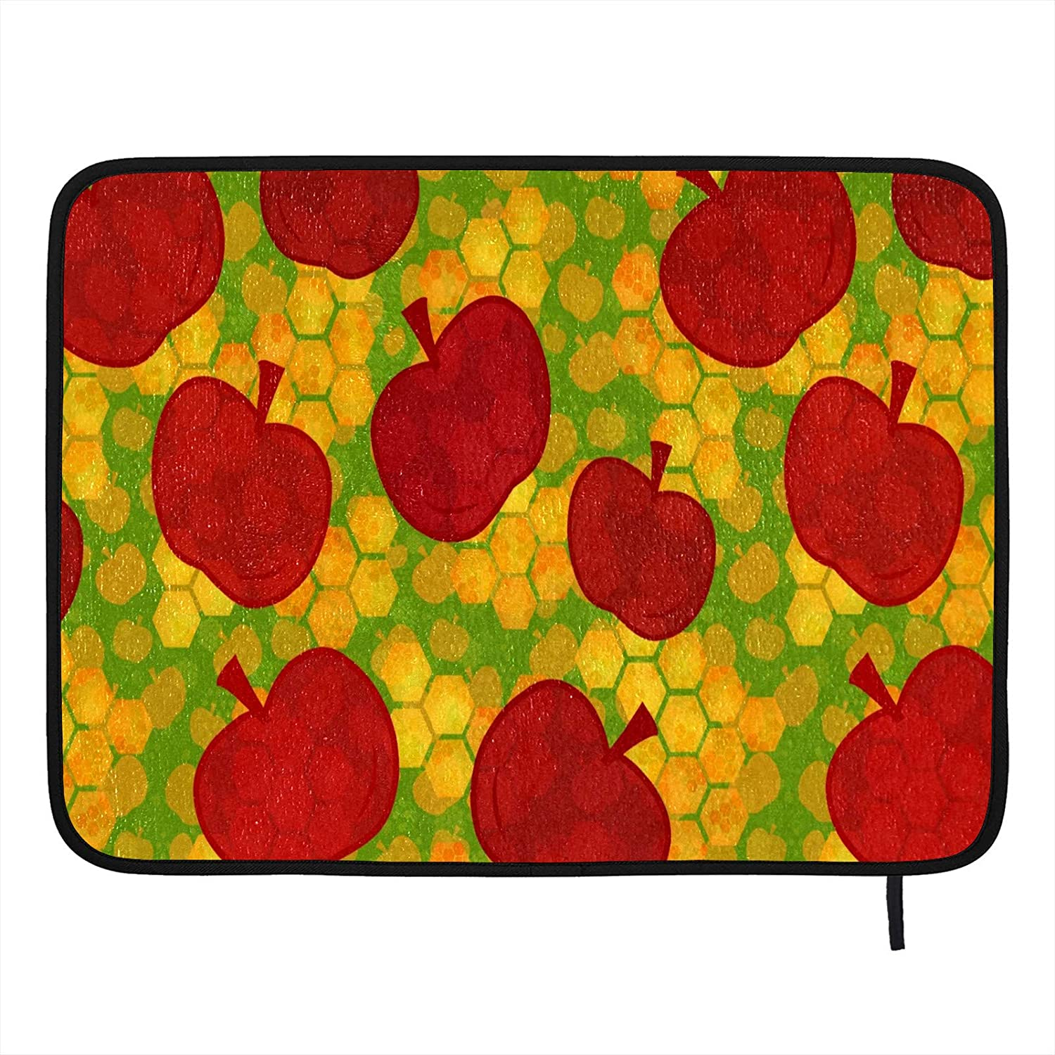 Absorbent Dish Drying Mat Red Apple Orange Green Pattern Kitchen Counter Mat Protector Heat Resistant Drying Pad Protector Suitable for Kitchen Sink Dining Table decor 18×16 inch