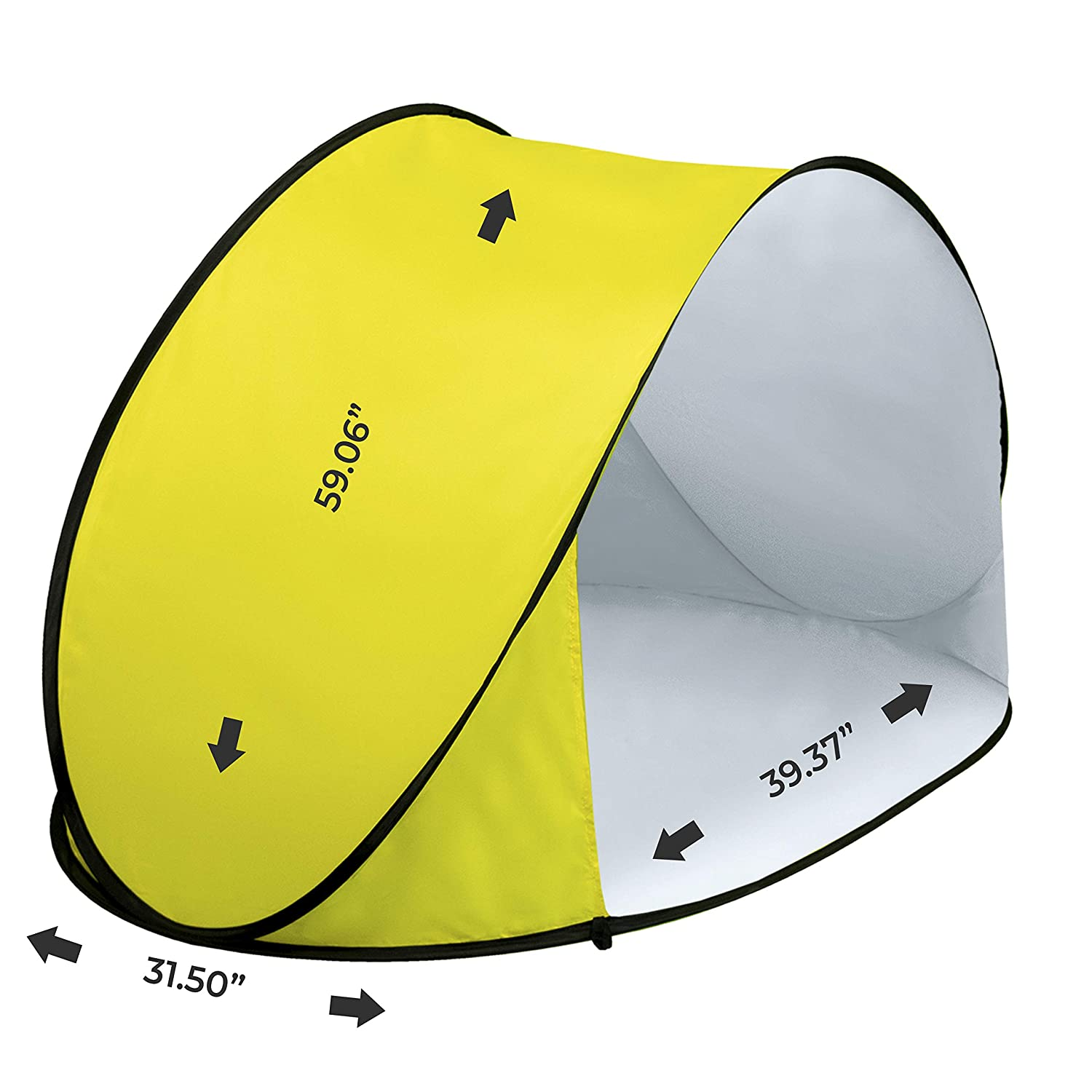 Pluto Yellow Beach Tent Protect Your Baby From the Sun. Quick Up Pop-Up Tent Canopy System for Kids. Easy-Up Cabana for Outdoor Activities, Great Sunshade Solution Protects Also From Rain Breeze