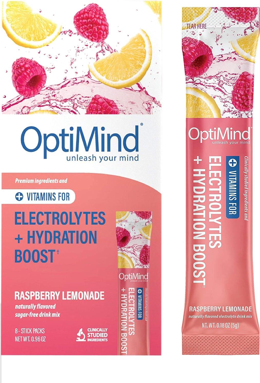 OptiMind Advanced Hydration: Sugar-Free, Caffeine-Free Electrolyte Water Booster for Vitamins, Amino Acids & Endurance (Natural Raspberry Lemonade Flavor, 8 Pack)