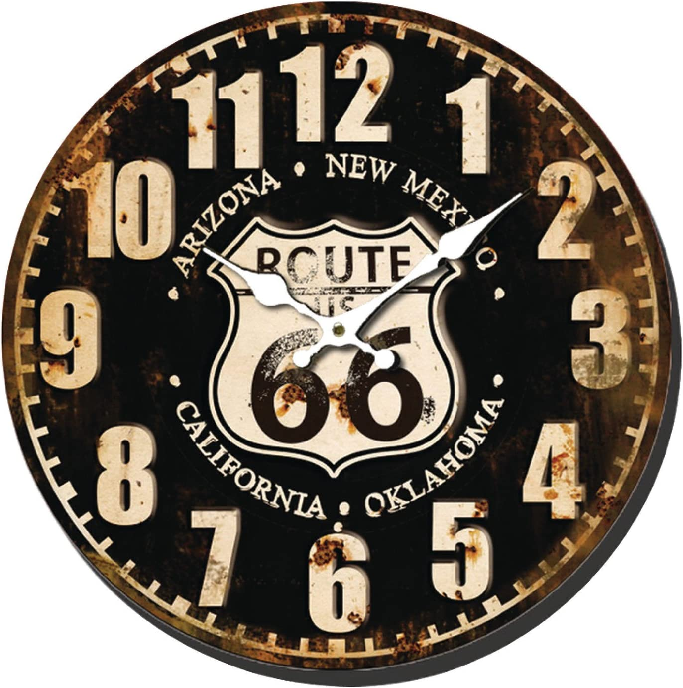 Nedis Horloge Pendule Murale Design Ronde Retro Route 66 Couleur 40cm A Aiguilles