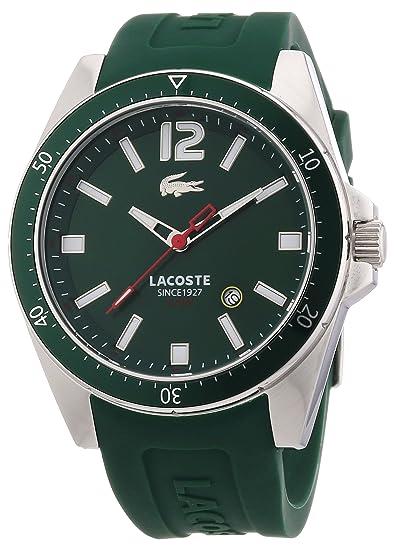 Lacoste 2010663 - Reloj analógico de cuarzo para hombre con correa de silicona, color verde: Lacoste: Amazon.es: Relojes
