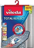 Vileda 159258 - Total Reflect Housse de Planche à Repasser Taille Universelle jusqu'à 45x130 cm, Tissu Technologie Réléchissante, Papillons Gris