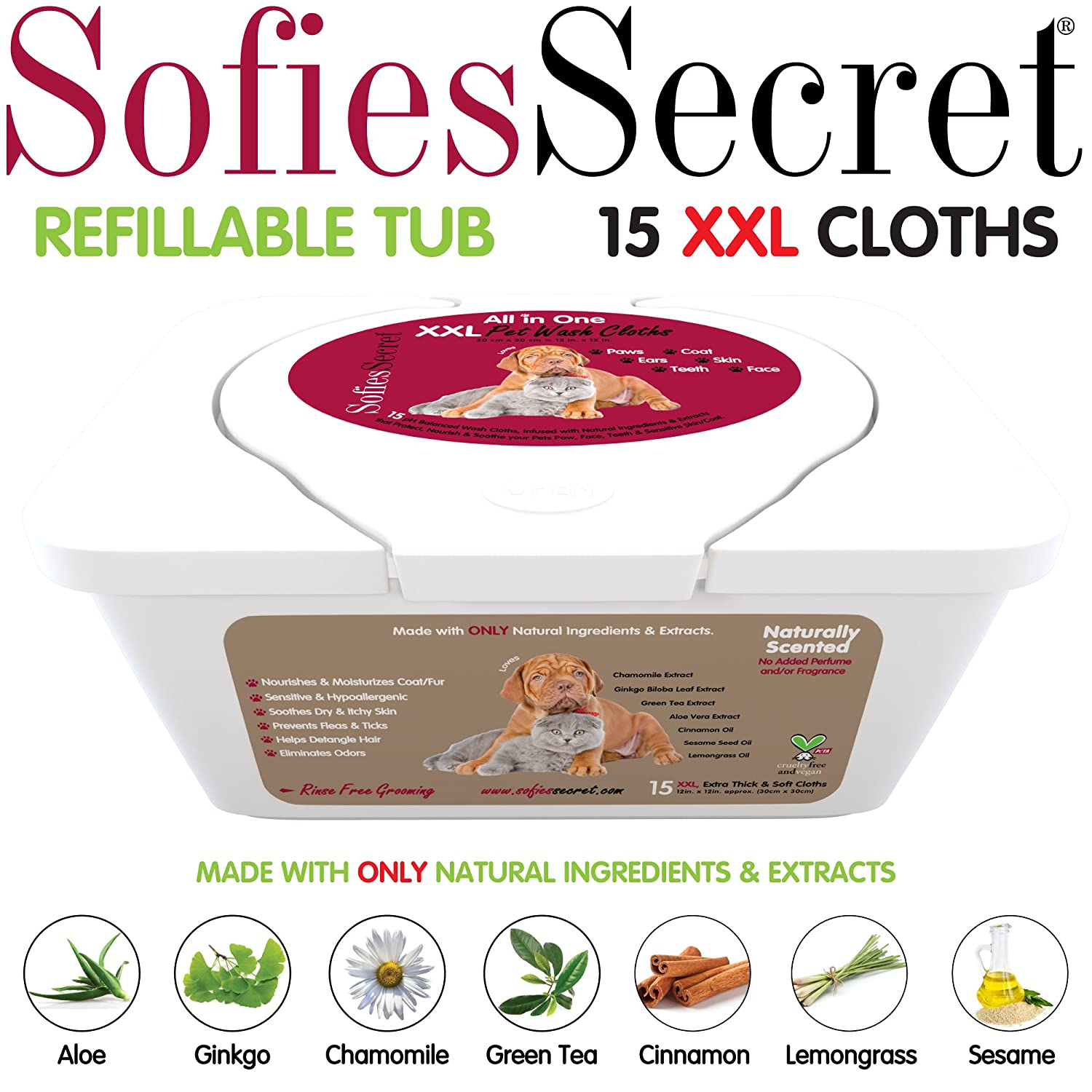 SofiesSecret PET BATH Wipes, 12x12 for Dogs + Cats, infused with ONLY 100% Natural & Organic Extracts, Rinse Free Grooming Wipes for Paws, Coat, Face, Ears, Skin, Teeth Moist Towel Services