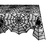 DII 54x72 Rectangular Polyester Lace Tablecloth, Black Spider Web - Perfect for Halloween, Dinner Parties and Scary Movie Nights