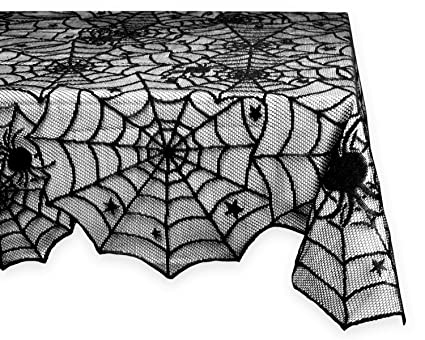 Marvelous DII 54x72 Rectangular Polyester Lace Tablecloth, Black Spider Web   Perfect  For Halloween, Dinner
