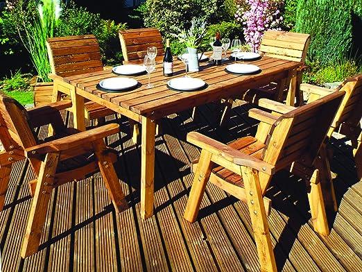 Charles Taylor - Mesa de jardín de madera rústica de 6 plazas hecha a mano y sillas individuales: Amazon.es: Jardín