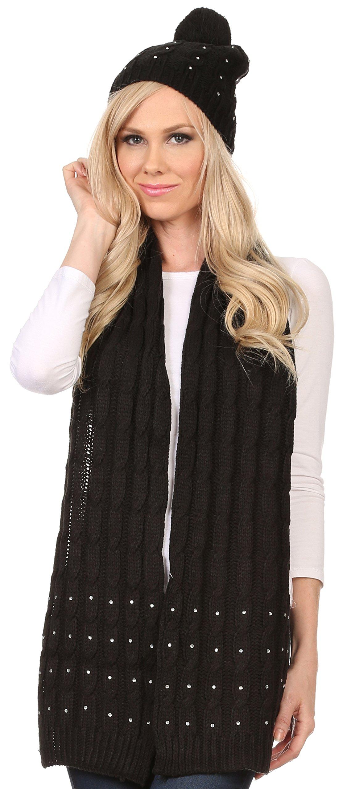 Sakkas CHSS1543 - Kae Jewel Studded Cable Knit Beanie Hat And Scarf Set - Black - OS